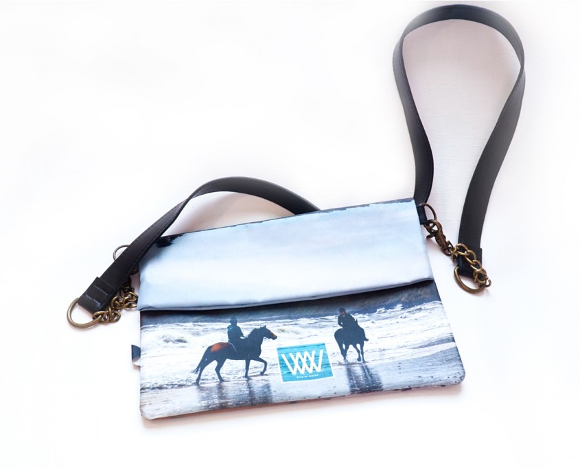 "Wild By Water Bags - Wild By Water Over the Shoulder Folded Clutch ""Beach Riders"""