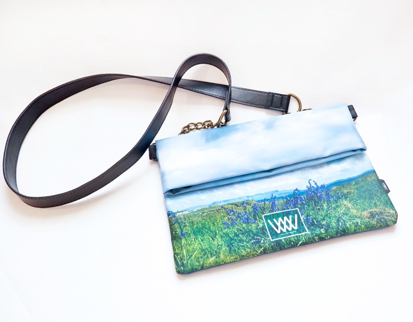 "Wild By Water Over the Shoulder Folded Clutch ""Inishmurray Bluebells"""