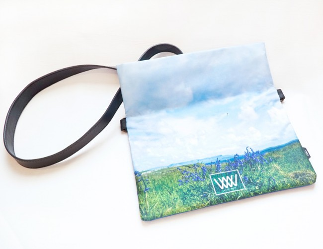 """Wild By Water Over the Shoulder Folded Clutch """"Inishmurray Bluebells"""""""