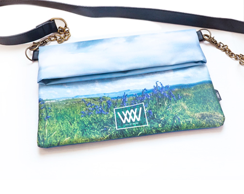 "Wild By Water Bags - Wild By Water Over the Shoulder Folded Clutch ""Inishmurray Bluebells"""