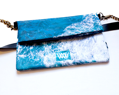 "Wild By Water Bags - Wild By Water Over the Shoulder Folded Clutch ""Seabird Swirl"""