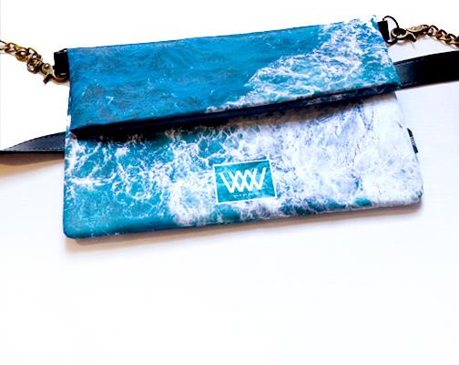 "Wild By Water Over the Shoulder Folded Clutch ""Seabird Swirl"""