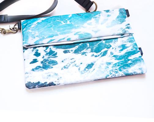Wild By Water Folded Clutch –Seaweed Foam