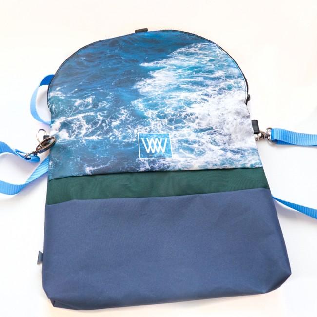 Waterproof cross-body / backpack -Seabird Swirl